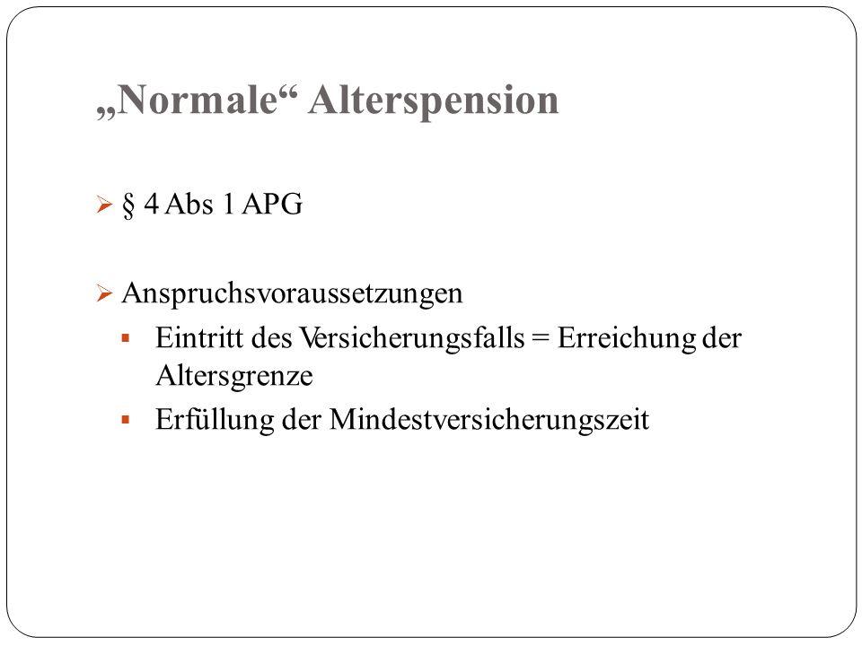 """""""Normale Alterspension  § 4 Abs 1 APG  Anspruchsvoraussetzungen  Eintritt des Versicherungsfalls = Erreichung der Altersgrenze  Erfüllung der Mindestversicherungszeit"""