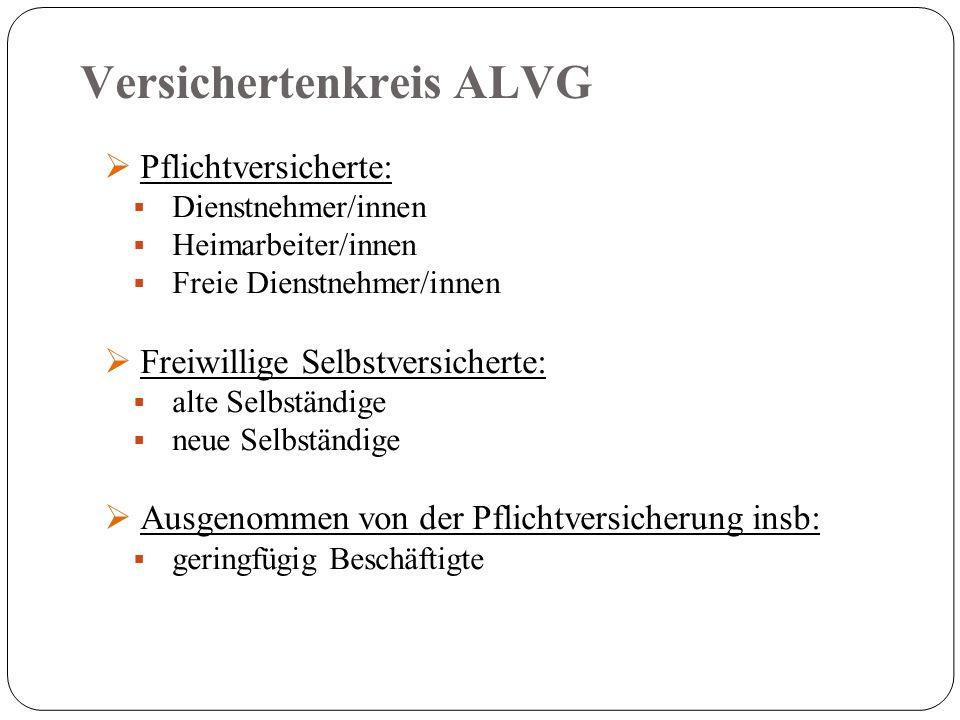 Versichertenkreis ALVG  Pflichtversicherte:  Dienstnehmer/innen  Heimarbeiter/innen  Freie Dienstnehmer/innen  Freiwillige Selbstversicherte:  alte Selbständige  neue Selbständige  Ausgenommen von der Pflichtversicherung insb:  geringfügig Beschäftigte