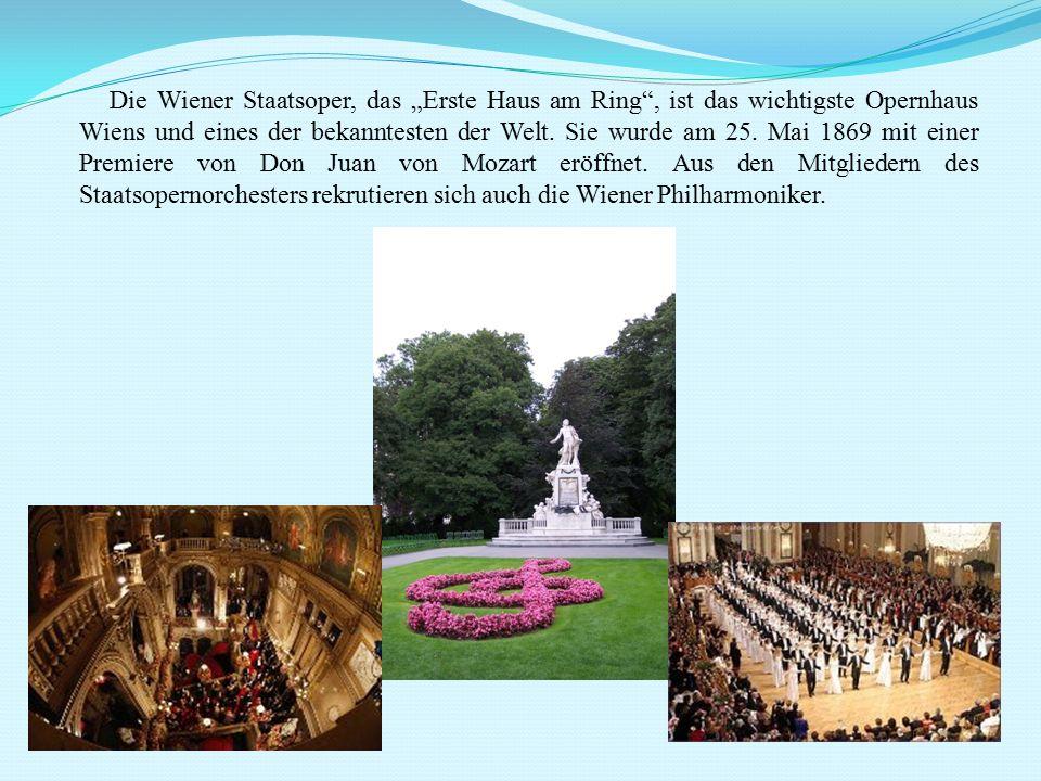 """Die Wiener Staatsoper, das """"Erste Haus am Ring"""", ist das wichtigste Opernhaus Wiens und eines der bekanntesten der Welt. Sie wurde am 25. Mai 1869 mit"""