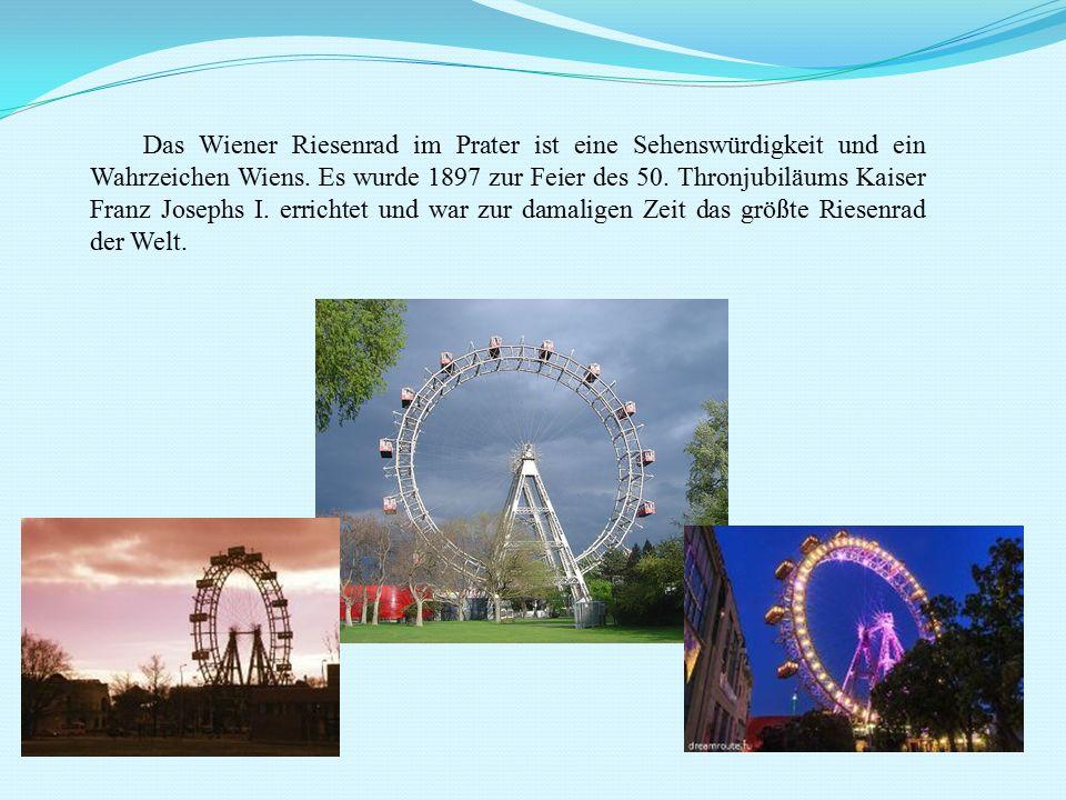 Das Wiener Riesenrad im Prater ist eine Sehenswürdigkeit und ein Wahrzeichen Wiens. Es wurde 1897 zur Feier des 50. Thronjubiläums Kaiser Franz Joseph