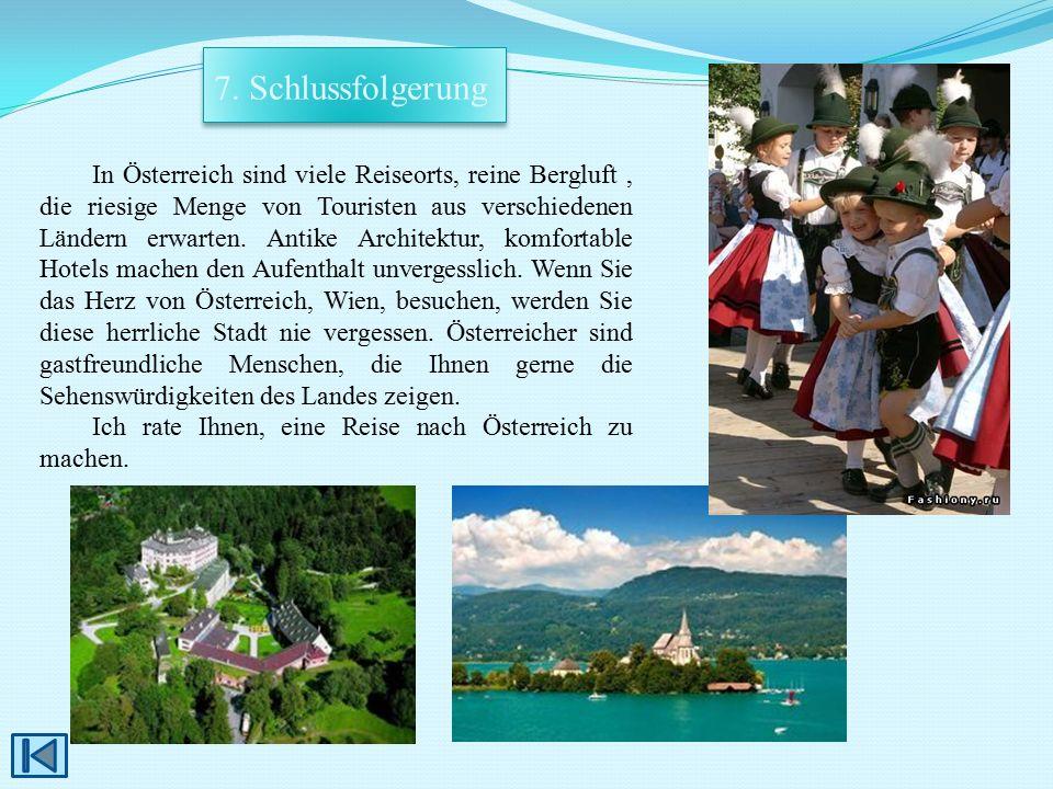 In Österreich sind viele Reiseorts, reine Bergluft, die riesige Menge von Touristen aus verschiedenen Ländern erwarten. Antike Architektur, komfortabl
