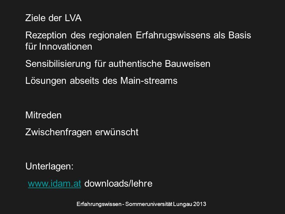 Ziele der LVA Rezeption des regionalen Erfahrugswissens als Basis für Innovationen Sensibilisierung für authentische Bauweisen Lösungen abseits des Ma