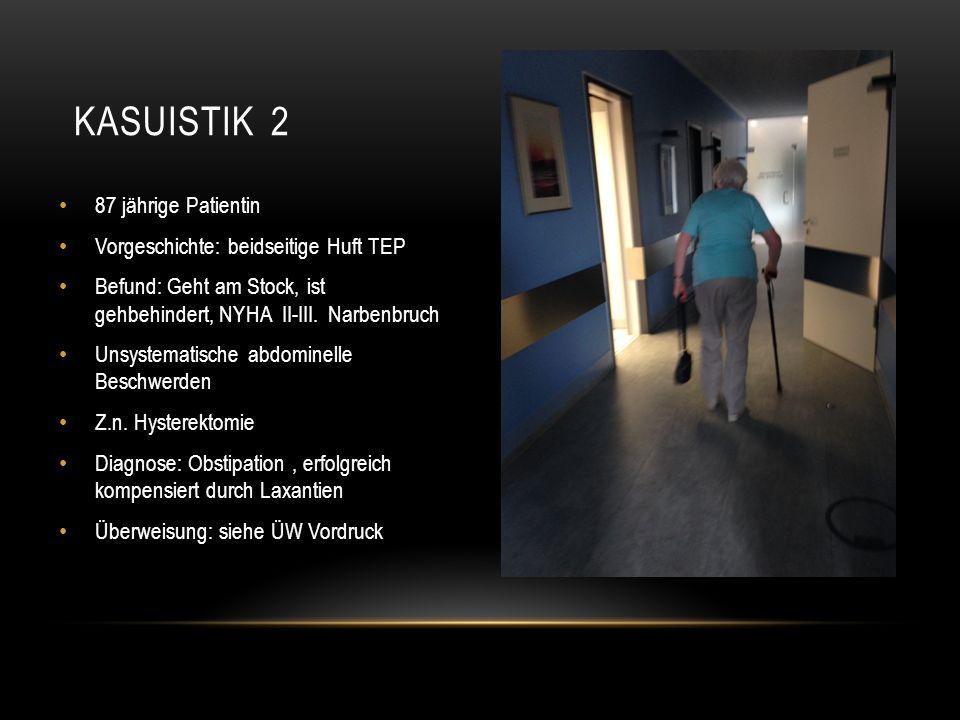 87 jährige Patientin Vorgeschichte: beidseitige Huft TEP Befund: Geht am Stock, ist gehbehindert, NYHA II-III.