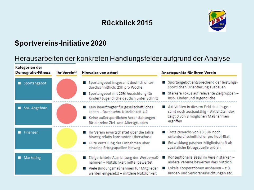 Rückblick 2015 Sportvereins-Initiative 2020 Herausarbeiten der konkreten Handlungsfelder aufgrund der Analyse