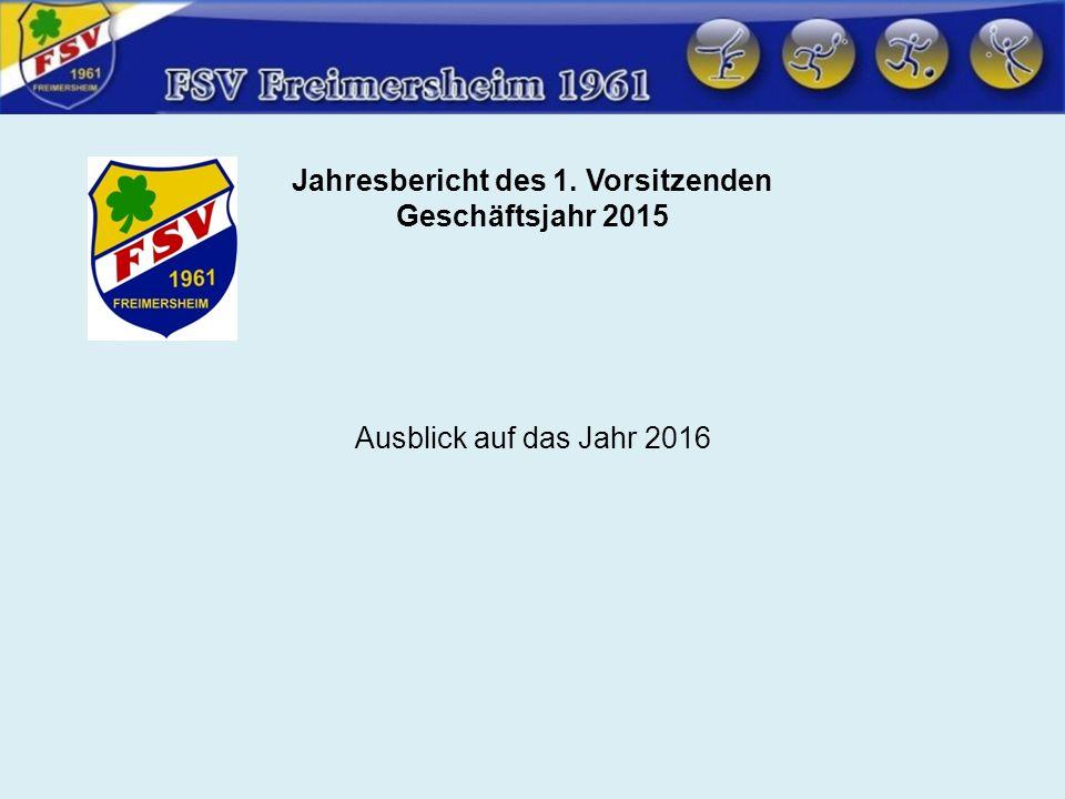 Jahresbericht des 1. Vorsitzenden Geschäftsjahr 2015 Ausblick auf das Jahr 2016