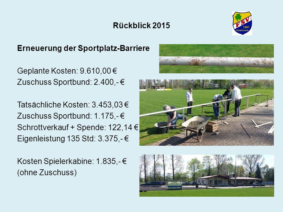 Rückblick 2015 Erneuerung der Sportplatz-Barriere Geplante Kosten: 9.610,00 € Zuschuss Sportbund: 2.400,- € Tatsächliche Kosten: 3.453,03 € Zuschuss S