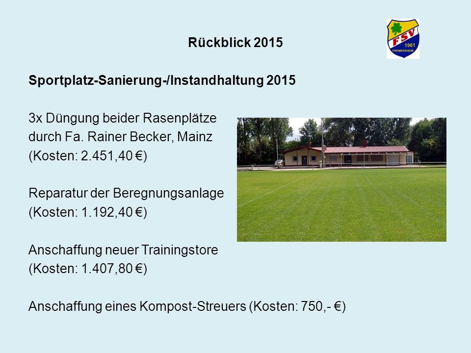 Rückblick 2015 Sportplatz-Sanierung-/Instandhaltung 2015 3x Düngung beider Rasenplätze durch Fa. Rainer Becker, Mainz (Kosten: 2.451,40 €) Reparatur d