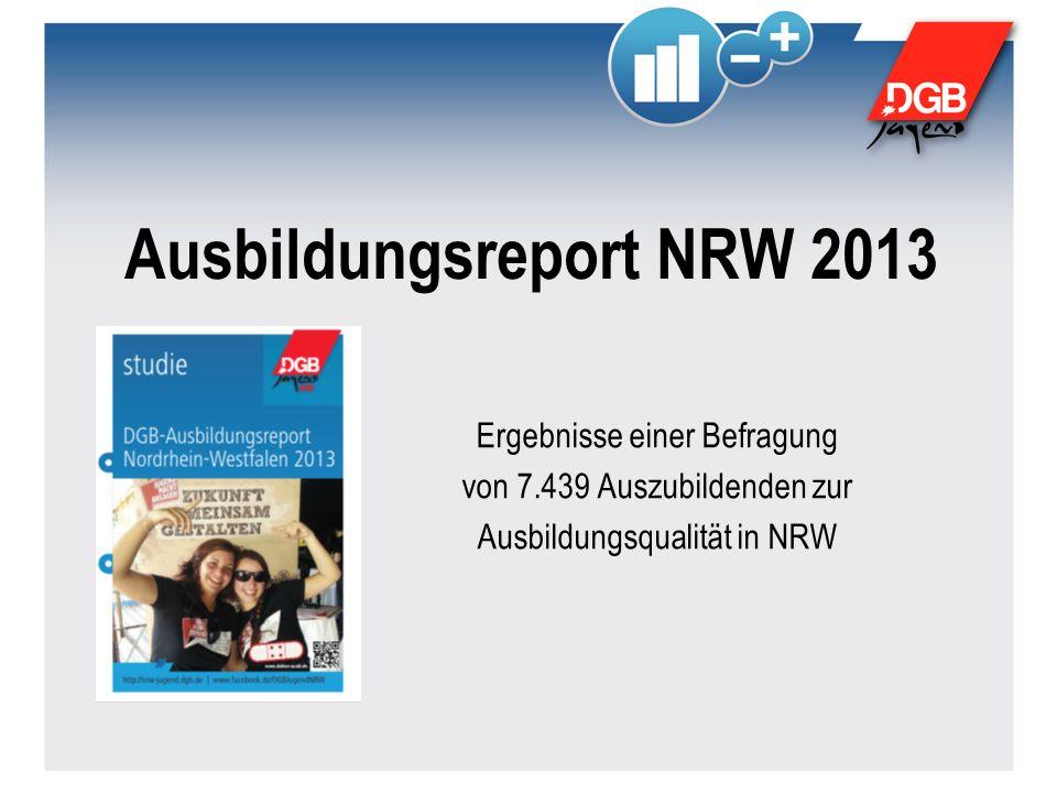 Ausbildungsreport NRW 2013 Ergebnisse einer Befragung von 7.439 Auszubildenden zur Ausbildungsqualität in NRW