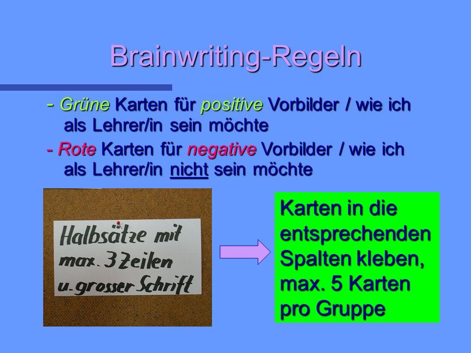 Brainwriting-Regeln - Grüne Karten für positive Vorbilder / wie ich als Lehrer/in sein möchte - Rote Karten für negative Vorbilder / wie ich als Lehrer/in nicht sein möchte Karten in die entsprechenden Spalten kleben, max.