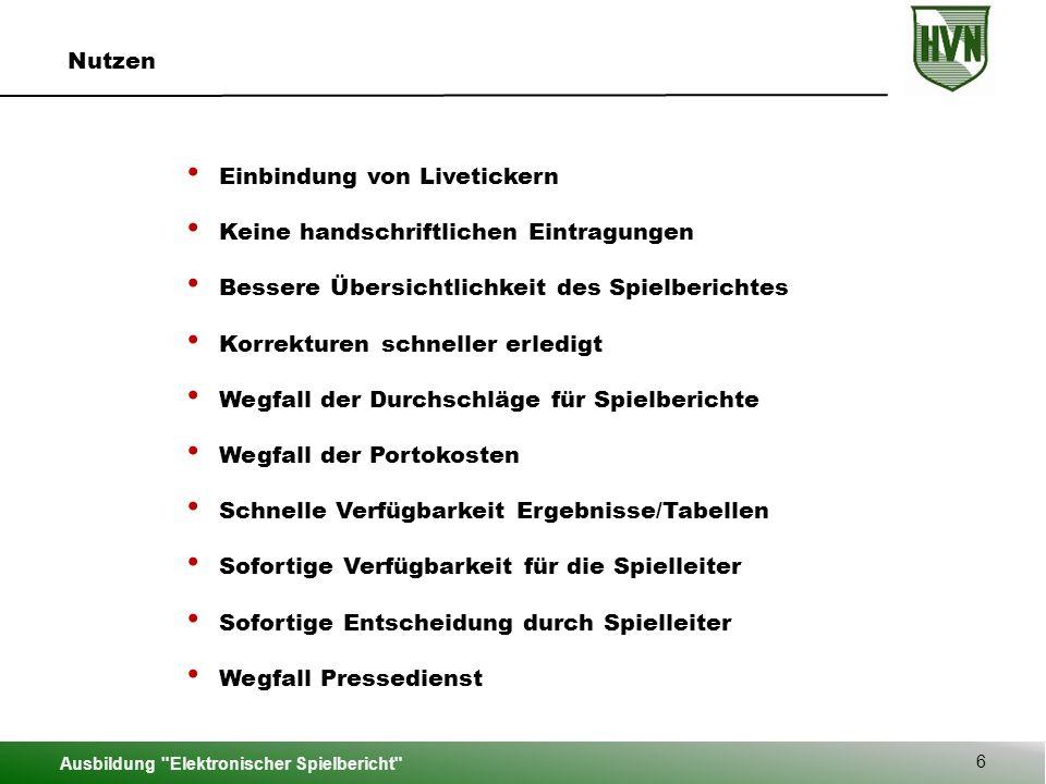 Ausbildung Elektronischer Spielbericht 37 Hauptmenü – Bericht bearbeiten