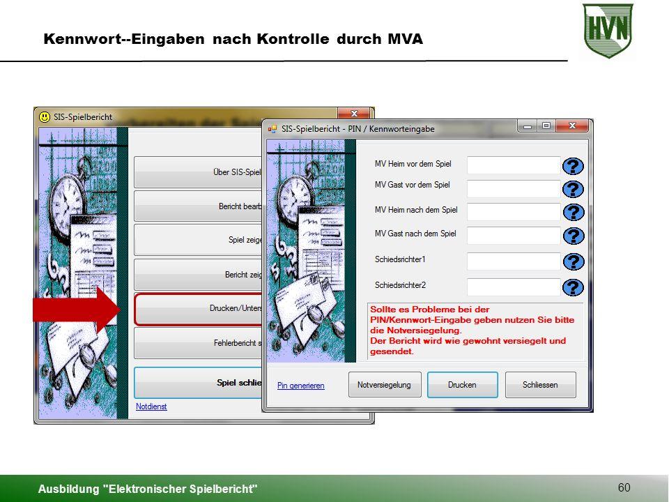 Ausbildung Elektronischer Spielbericht 60 Kennwort--Eingaben nach Kontrolle durch MVA