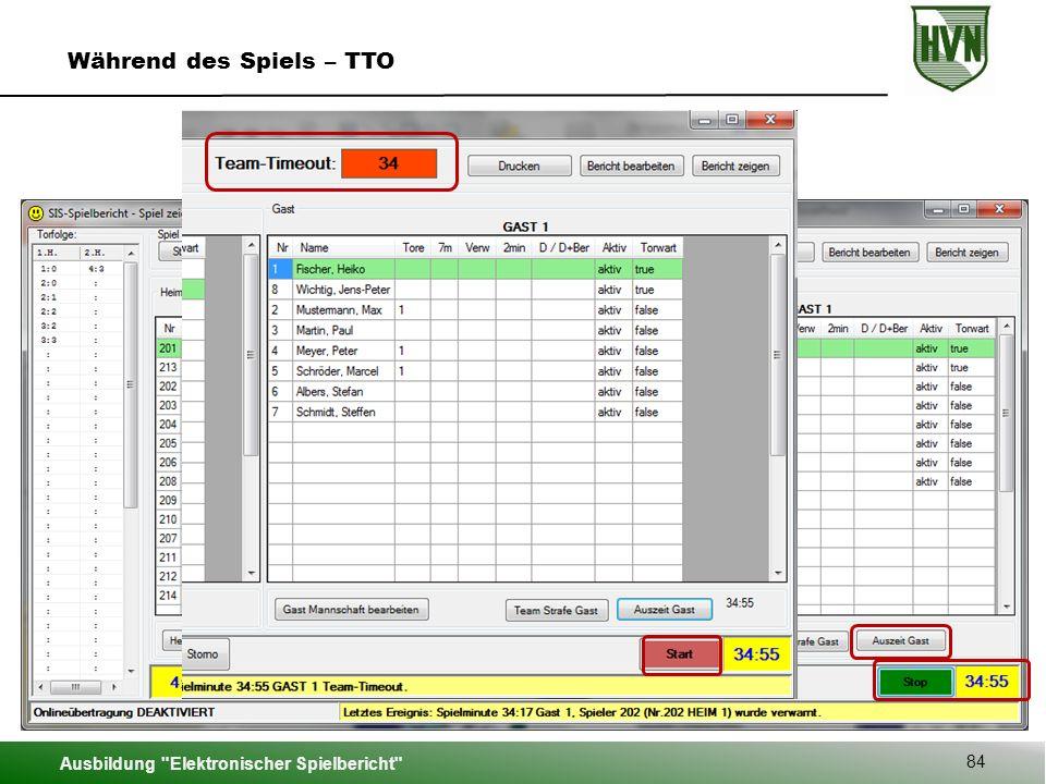 Ausbildung Elektronischer Spielbericht 84 Während des Spiels – TTO