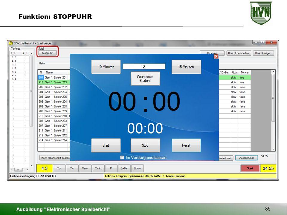 Ausbildung Elektronischer Spielbericht 85 Funktion: STOPPUHR