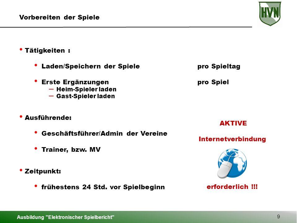Ausbildung Elektronischer Spielbericht 50 Hauptmenü – Bericht bearbeiten Manfred Heim Martina Gast