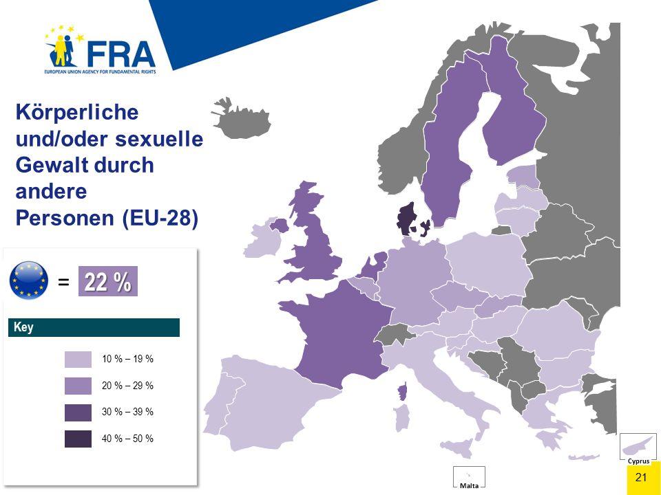 21 Körperliche und/oder sexuelle Gewalt durch andere Personen (EU-28) Figure 2.2