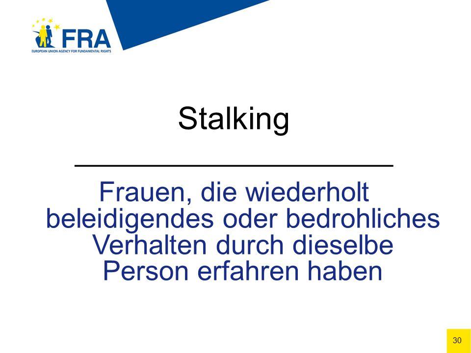 30 Stalking ______________________ Frauen, die wiederholt beleidigendes oder bedrohliches Verhalten durch dieselbe Person erfahren haben