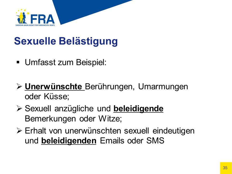 35 Sexuelle Belästigung  Umfasst zum Beispiel:  Unerwünschte Berührungen, Umarmungen oder Küsse;  Sexuell anzügliche und beleidigende Bemerkungen oder Witze;  Erhalt von unerwünschten sexuell eindeutigen und beleidigenden Emails oder SMS