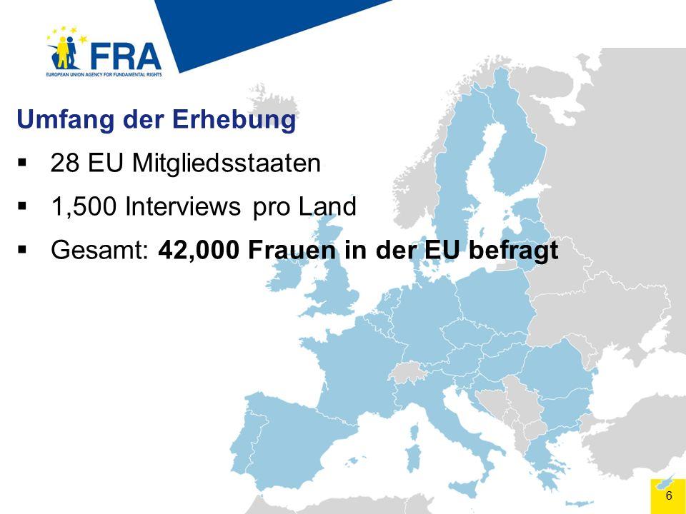 6 Umfang der Erhebung  28 EU Mitgliedsstaaten  1,500 Interviews pro Land  Gesamt: 42,000 Frauen in der EU befragt