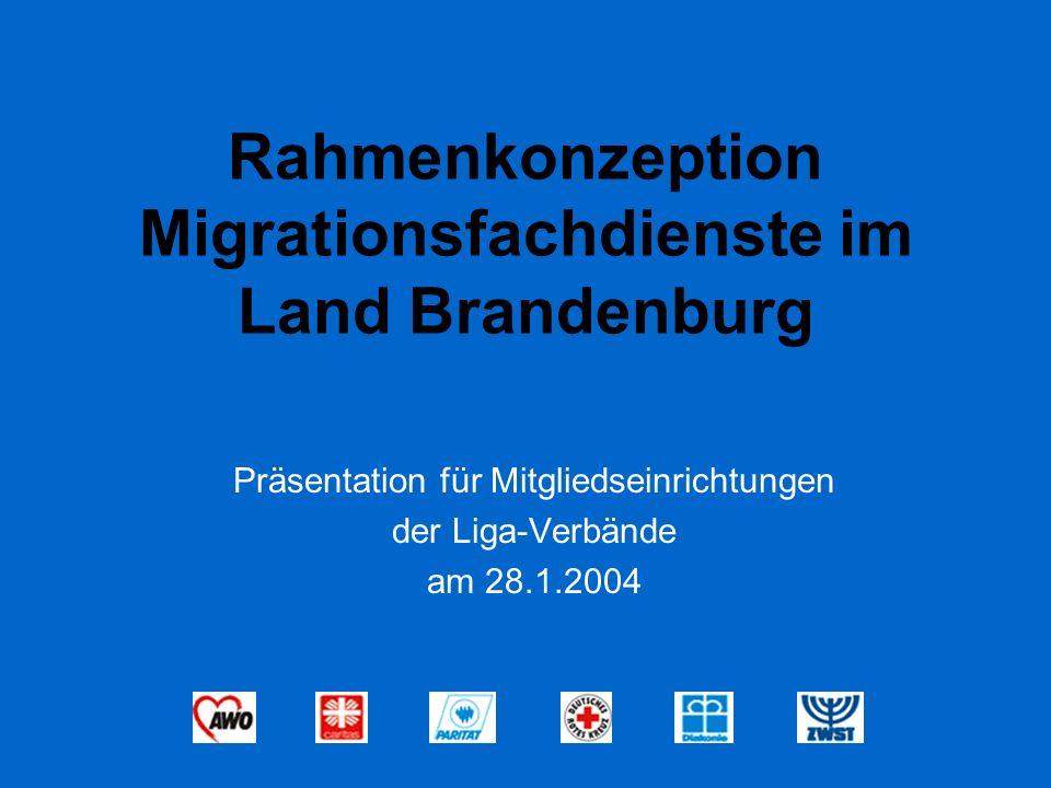 Rahmenkonzeption Migrationsfachdienste im Land Brandenburg Präsentation für Mitgliedseinrichtungen der Liga-Verbände am 28.1.2004