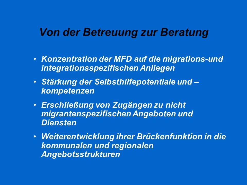 Von der Betreuung zur Beratung Konzentration der MFD auf die migrations-und integrationsspezifischen Anliegen Stärkung der Selbsthilfepotentiale und –