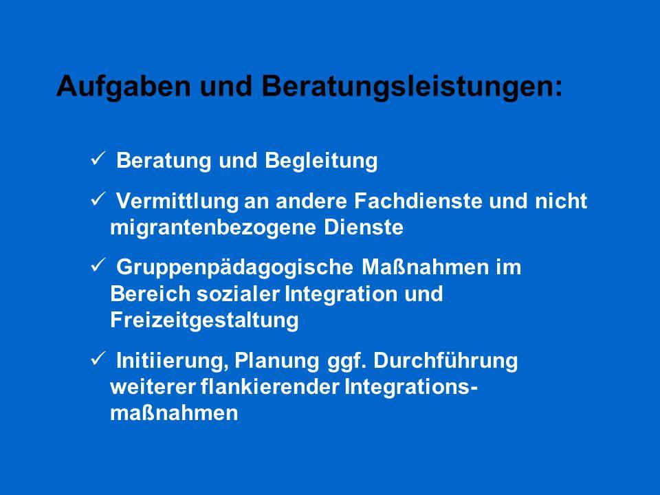 Aufgaben und Beratungsleistungen: Beratung und Begleitung Vermittlung an andere Fachdienste und nicht migrantenbezogene Dienste Gruppenpädagogische Ma