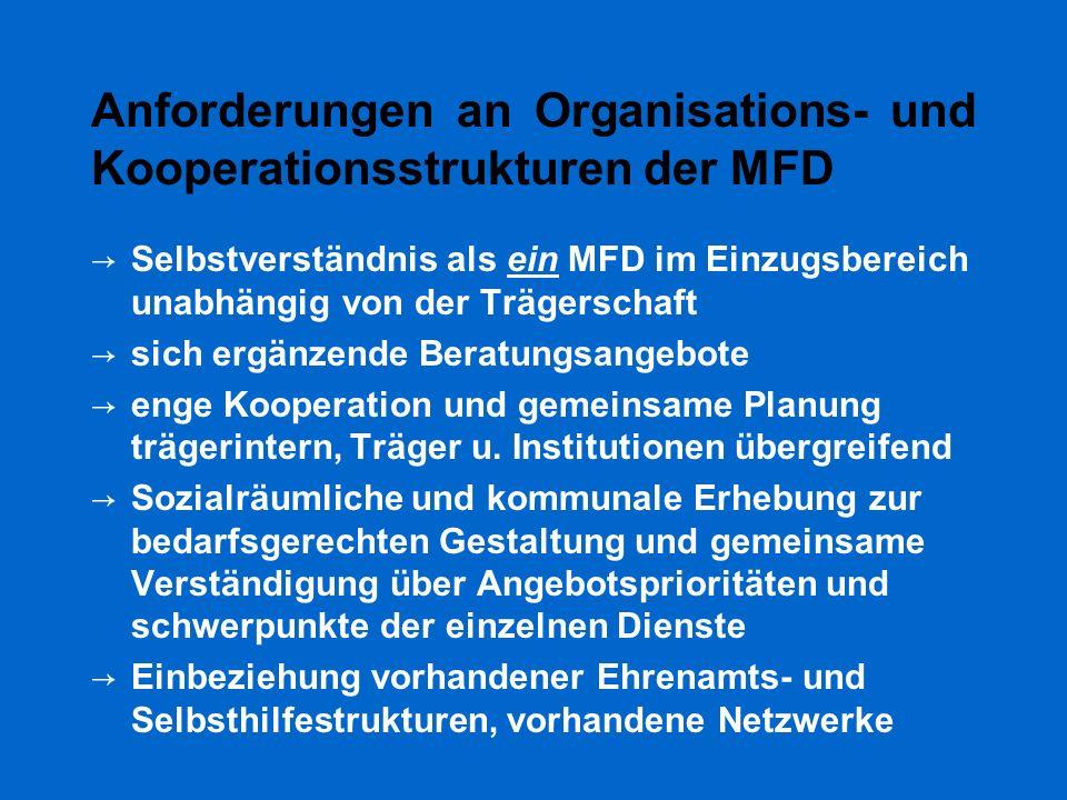 Anforderungen an Organisations- und Kooperationsstrukturen der MFD → Selbstverständnis als ein MFD im Einzugsbereich unabhängig von der Trägerschaft →