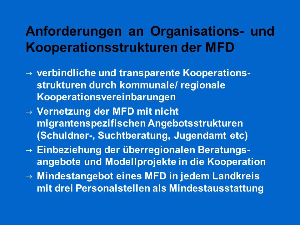Anforderungen an Organisations- und Kooperationsstrukturen der MFD → verbindliche und transparente Kooperations- strukturen durch kommunale/ regionale