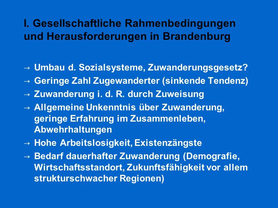 I. Gesellschaftliche Rahmenbedingungen und Herausforderungen in Brandenburg → Umbau d. Sozialsysteme, Zuwanderungsgesetz? → Geringe Zahl Zugewanderter