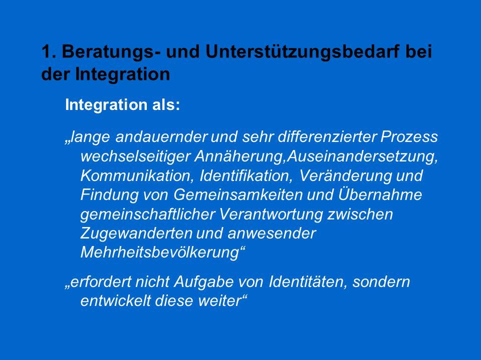 """1. Beratungs- und Unterstützungsbedarf bei der Integration Integration als: """" lange andauernder und sehr differenzierter Prozess wechselseitiger Annäh"""