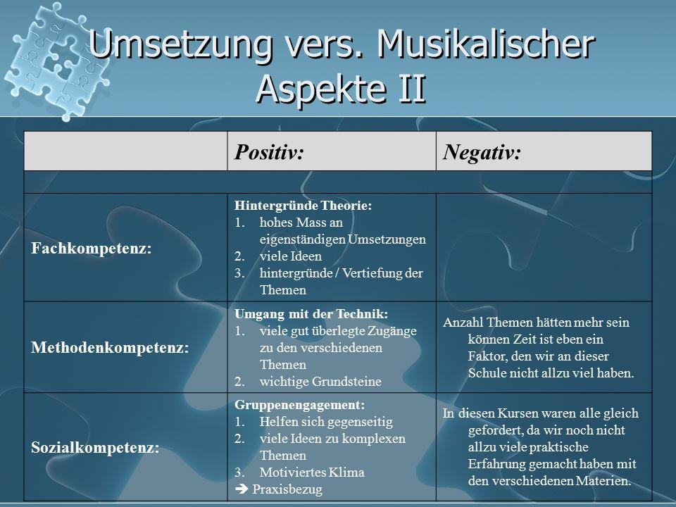 Umsetzung vers. Musikalischer Aspekte II Positiv:Negativ: Fachkompetenz: Hintergründe Theorie: 1.hohes Mass an eigenständigen Umsetzungen 2.viele Idee