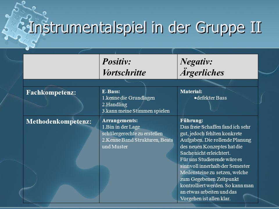 Instrumentalspiel in der Gruppe II Positiv: Vortschritte Negativ: Ärgerliches Fachkompetenz: E-Bass: 1.kenne die Grundlagen 2.Handling 3.kann meine St