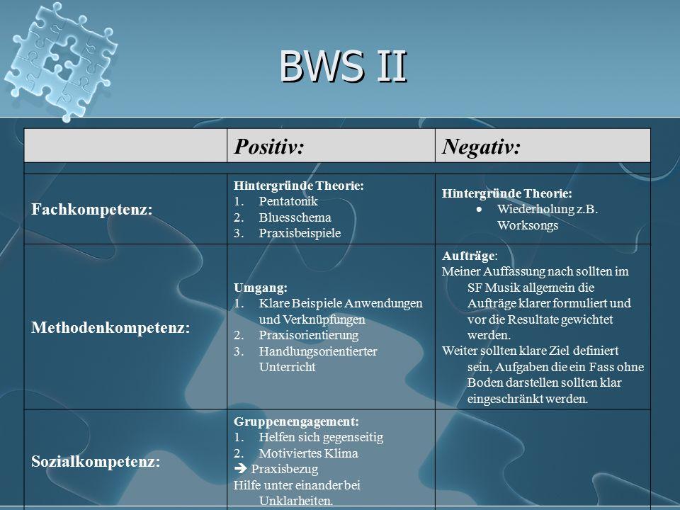 BWS II Positiv:Negativ: Fachkompetenz: Hintergründe Theorie: 1.Pentatonik 2.Bluesschema 3.Praxisbeispiele Hintergründe Theorie:  Wiederholung z.B. Wo
