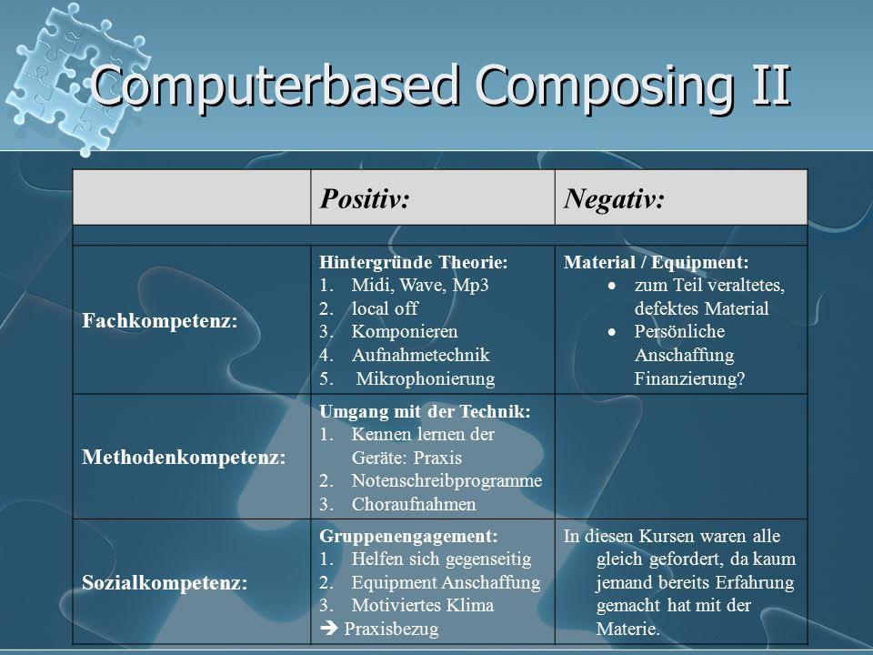 Computerbased Composing II Positiv:Negativ: Fachkompetenz: Hintergründe Theorie: 1.Midi, Wave, Mp3 2.local off 3.Komponieren 4.Aufnahmetechnik 5. Mikr