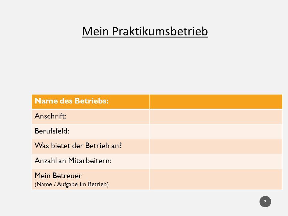 Mein Praktikumsbetrieb Name des Betriebs: Anschrift: Berufsfeld: Was bietet der Betrieb an? Anzahl an Mitarbeitern: Mein Betreuer (Name / Aufgabe im B