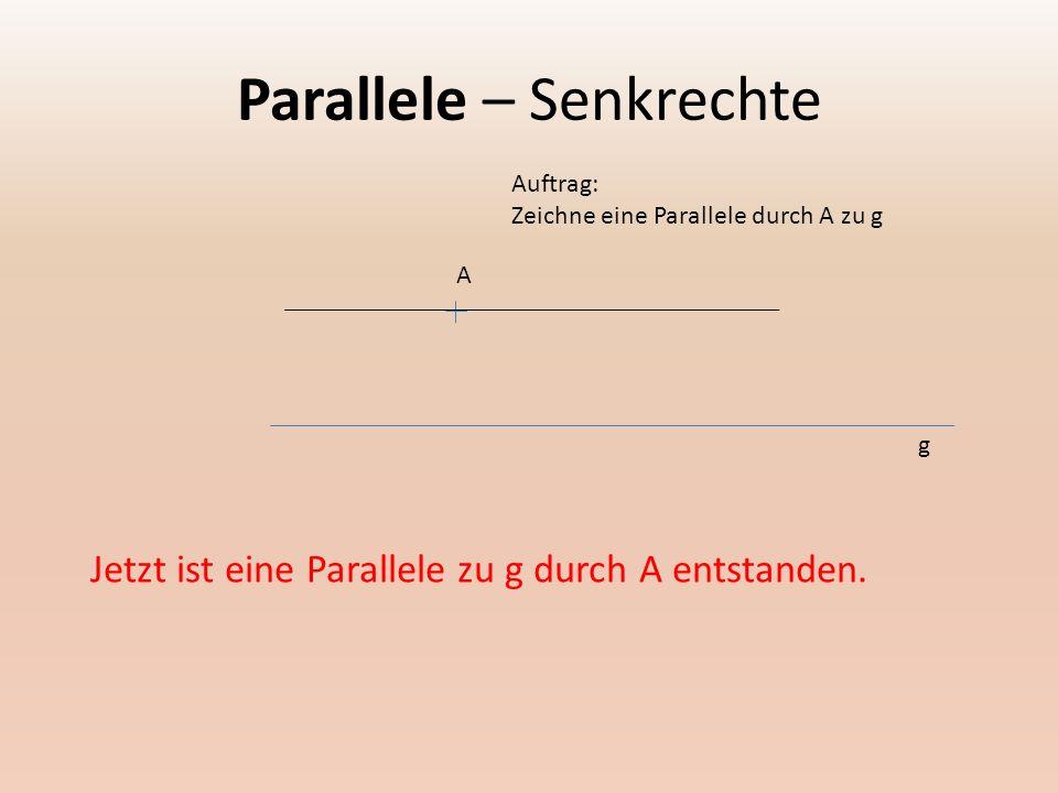 Parallele – Senkrechte A Auftrag: Zeichne eine Parallele durch A zu g g Jetzt ist eine Parallele zu g durch A entstanden.