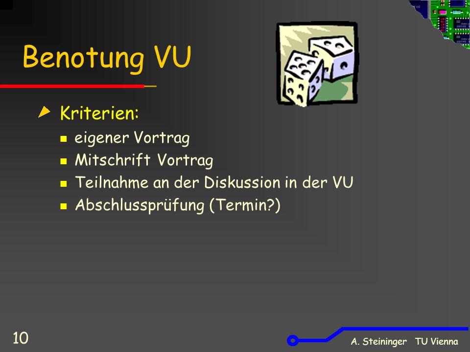 10 Benotung VU Kriterien: eigener Vortrag Mitschrift Vortrag Teilnahme an der Diskussion in der VU Abschlussprüfung (Termin )