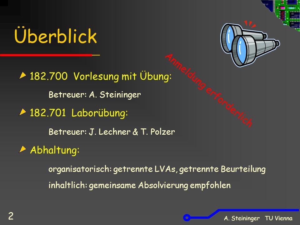 A. Steininger TU Vienna 2 Überblick 182.700 Vorlesung mit Übung: Betreuer: A.