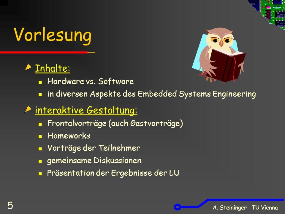 A. Steininger TU Vienna 5 Vorlesung Inhalte: Hardware vs.