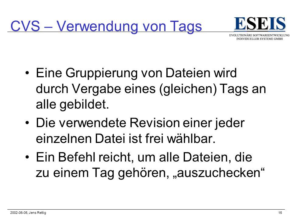 2002-06-05, Jens Rettig15 CVS – Verwendung von Tags Eine Gruppierung von Dateien wird durch Vergabe eines (gleichen) Tags an alle gebildet.
