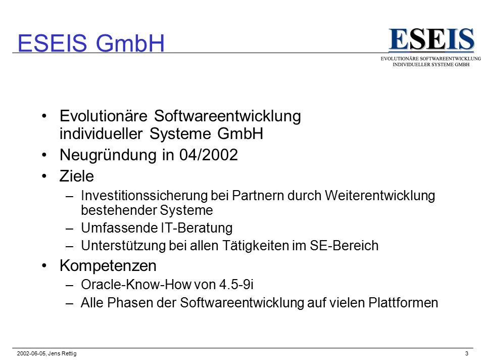 2002-06-05, Jens Rettig3 ESEIS GmbH Evolutionäre Softwareentwicklung individueller Systeme GmbH Neugründung in 04/2002 Ziele –Investitionssicherung bei Partnern durch Weiterentwicklung bestehender Systeme –Umfassende IT-Beratung –Unterstützung bei allen Tätigkeiten im SE-Bereich Kompetenzen –Oracle-Know-How von 4.5-9i –Alle Phasen der Softwareentwicklung auf vielen Plattformen