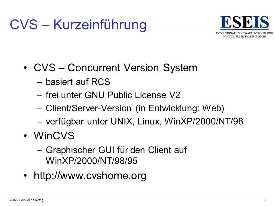 2002-06-05, Jens Rettig5 CVS – Kurzeinführung CVS – Concurrent Version System –basiert auf RCS –frei unter GNU Public License V2 –Client/Server-Version (in Entwicklung: Web) –verfügbar unter UNIX, Linux, WinXP/2000/NT/98 WinCVS –Graphischer GUI für den Client auf WinXP/2000/NT/98/95 http://www.cvshome.org