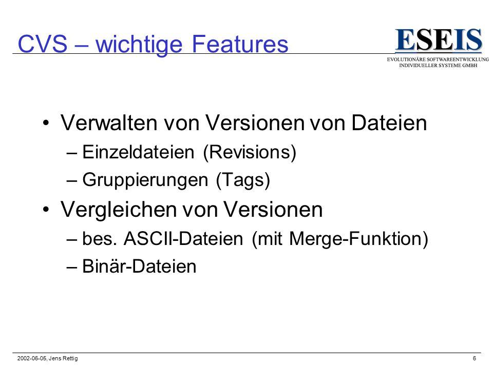 2002-06-05, Jens Rettig7 CVS – Schema Repository CVS-ClientCVS-Server cvs checkout/update cvs commit