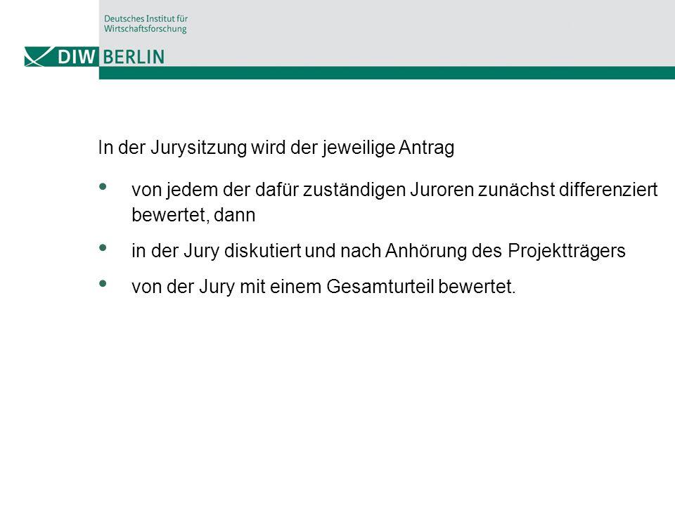 In der Jurysitzung wird der jeweilige Antrag von jedem der dafür zuständigen Juroren zunächst differenziert bewertet, dann in der Jury diskutiert und nach Anhörung des Projektträgers von der Jury mit einem Gesamturteil bewertet.