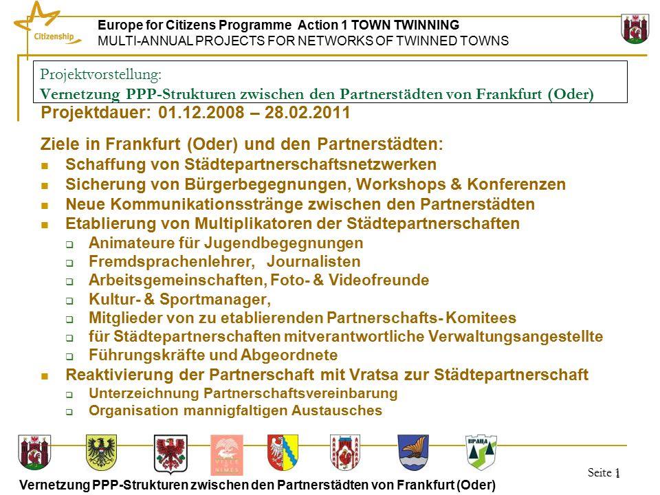 Seite 12 Europe for Citizens Programme Action 1 TOWN TWINNING MULTI-ANNUAL PROJECTS FOR NETWORKS OF TWINNED TOWNS Vernetzung PPP-Strukturen zwischen den Partnerstädten von Frankfurt (Oder) 12 30.10.-1.11.2009 Vratza Jugend-& TourismusWorkshop/ Unterzeichnung der Städtepartnerschaftsvereinbarung