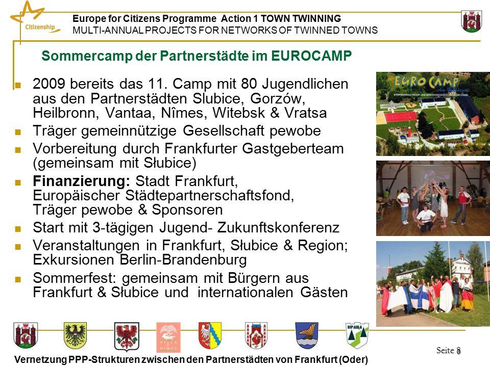 Seite 19 Europe for Citizens Programme Action 1 TOWN TWINNING MULTI-ANNUAL PROJECTS FOR NETWORKS OF TWINNED TOWNS Vernetzung PPP-Strukturen zwischen den Partnerstädten von Frankfurt (Oder) 19 Sportworkshop Frankfurt (Oder) 09-2010 Treff im Olympiastützpunkt; Begrüßung durch den Leiter des Olympiastützpunktes Individuelle Gespräche/ Besichtigung der Sportstätten der Partner, die sich in Gorzów gefunden haben.