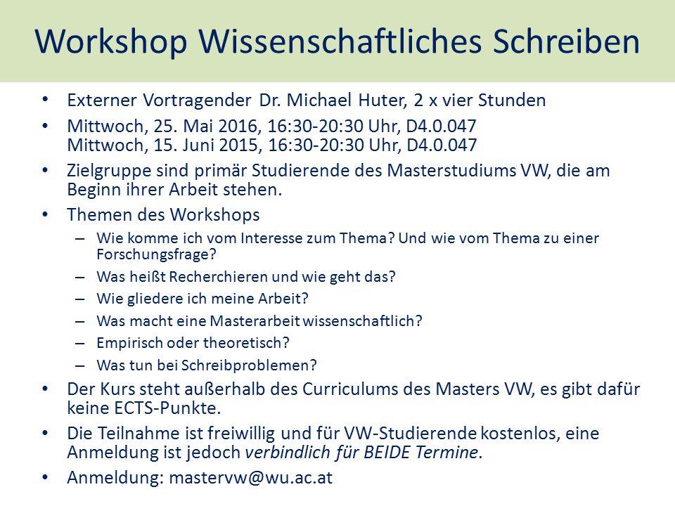 Workshop Wissenschaftliches Schreiben Externer Vortragender Dr. Michael Huter, 2 x vier Stunden Mittwoch, 25. Mai 2016, 16:30-20:30 Uhr, D4.0.047 Mitt