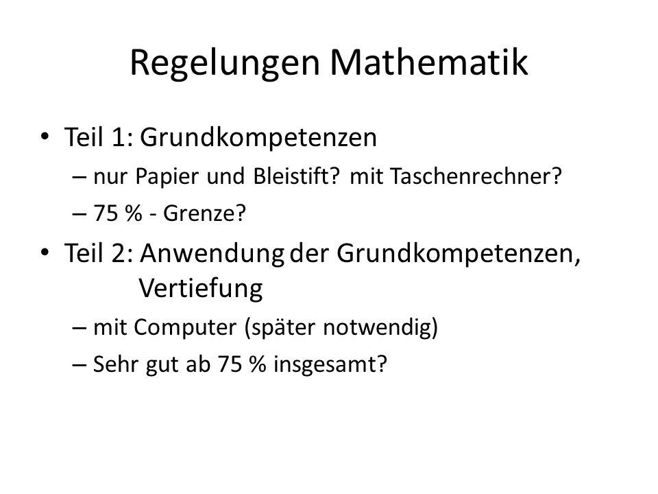 Regelungen Mathematik Teil 1: Grundkompetenzen – nur Papier und Bleistift.