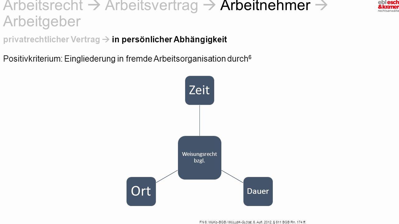 FN 6: MüKo-BGB / M ÜLLER -G LÖGE, 6. Aufl. 2012, § 611 BGB Rn. 174 ff. Positivkriterium: Eingliederung in fremde Arbeitsorganisation durch 6 privatrec