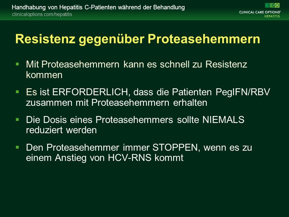 clinicaloptions.com/hepatitis Handhabung von Hepatitis C-Patienten während der Behandlung Resistenz gegenüber Proteasehemmern  Mit Proteasehemmern kann es schnell zu Resistenz kommen  Es ist ERFORDERLICH, dass die Patienten PegIFN/RBV zusammen mit Proteasehemmern erhalten  Die Dosis eines Proteasehemmers sollte NIEMALS reduziert werden  Den Proteasehemmer immer STOPPEN, wenn es zu einem Anstieg von HCV-RNS kommt