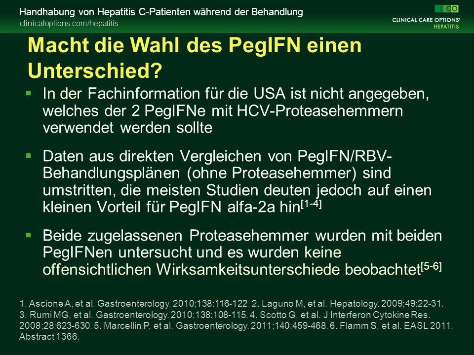 clinicaloptions.com/hepatitis Handhabung von Hepatitis C-Patienten während der Behandlung Macht die Wahl des PegIFN einen Unterschied.